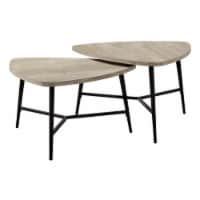 Monarch 2 Piece Contemporary Wood Top Nesting Coffee Table Set in Taupe - 1