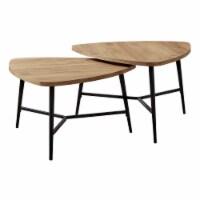 Table Set - 2Pcs Set / Golden Pine / Black Metal - 1