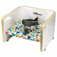 Little Partners MOD Baby Toddler Wood Booster Seat w/ Cushion, Geo Shapes, White - 1 Piece