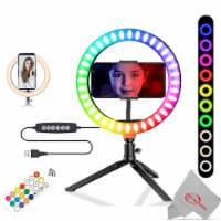Vivitar Vlog Essentials Full Color RGB LED Ring Light + Phone Cradle + Tripod - 1
