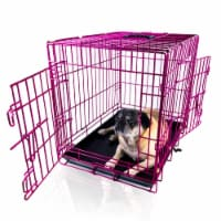 Backyard Expressions Pink 24 Inch Foldable Double Door Metal Pet Crate