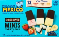 Helados Mexico Mini Chocolate Dipped Premium Ice Cream Bars Variety Pack 12 Count