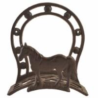 Cast Iron Hose Holder - Horse & Horseshoe - 10.75 inch Tall - 1