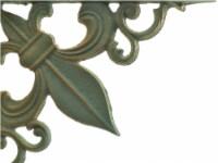 Wall Shelf Bracket Cast Iron Brace - Fleur De Lis - Bronze Patina Green - 7.375 inch - 1