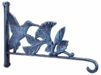 Hummingbird & Flowers Plant Hanger Hook - Verdigris Cast Iron - 12.5 inch Deep - 1