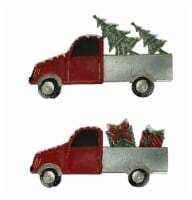 Red Rustic Metal Christmas Truck Tree and Gifts Hauler Holiday Wall Hanging Set - One Size