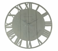 Distressed Cutout Wood Open Frame Oversize Round Wall Clock, White - White - One Size