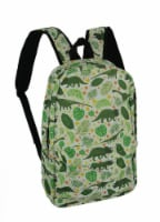 White and Green Dinosaur and Tropical Leaf Backpack - Medium