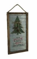 Wood Framed Metal Rustic Merry Little Christmas Tree Seasonal Decor Wall Hanging - One Size