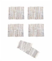 Gray and Gold Chindi Cloth Woven Table Runner With 4 Matching Placemats - One Size