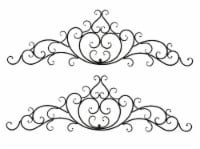 Set of 2 Decorative Wrought Iron Wall Scroll Metal Art Home Decor Ornate Plaque - One Size