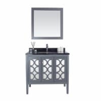Mediterraneo - 36 - Grey Cabinet + Black Wood Marble Countertop