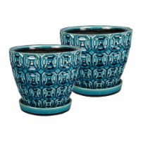 Southern Patio 8 Inch Ceramic Clay Mayer Planter and Saucer, Seafoam (2 Pack) - 1 Piece