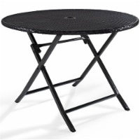Steel Round Wicker Foldable Patio Dining Table in Brown-Bowery Hill