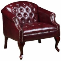 Pemberly Row Faux Leather Tufted Arm Chair in Oxblood - 1