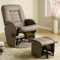 Pemberly Row Faux Leather Glider Recliner and Ottoman in Beige - 1
