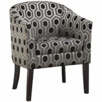 Pemberly Row Barrel Back Accent Chair in Gray and White - 1