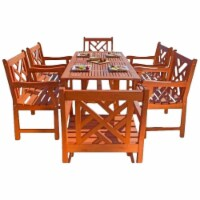 Pemberly Row 7 Piece Patio Dining Set in Oiled Rubbed - 1