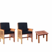 3 Piece Outdoor Patio Furniture Set with Side Table and Set of 2 Arm Chairs in Cinnamon Brown