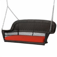 Jeco Wicker Porch Swing in Espresso with Red Cushion - 1