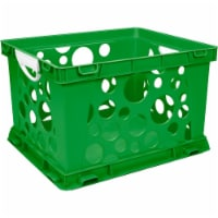 Premium File Crate with Handles, Classroom Green - 1