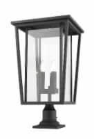 Seoul 3 Light Outdoor Pier Mounted Fixture Clear