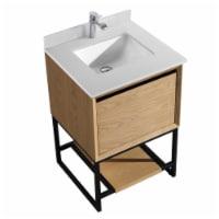 Alto 24 - California White Oak Cabinet + White Quartz Countertop
