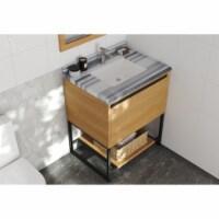 Alto 30 - California White Oak Cabinet + White Stripes Marble Countertop