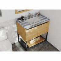 Alto 36 - California White Oak Cabinet + White Stripes Marble Countertop