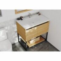 Alto 36 - California White Oak Cabinet + Matte White VIVA Stone Solid Surface Countertop - 1