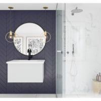 Vitri 30 - Cloud White Cabinet + Matte White VIVA Stone Solid Surface Countertop