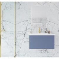 Vitri 30 - Nautical Blue Cabinet + Matte White VIVA Stone Solid Surface Countertop