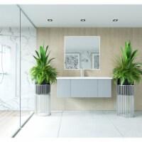 Vitri 48 - Fossil Grey Cabinet + Matte White VIVA Stone Solid Surface Countertop - 1
