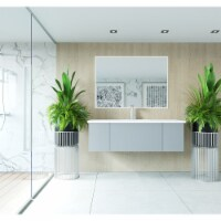 Vitri 54 - Fossil Grey Cabinet + Matte White VIVA Stone Solid Surface Countertop - 1