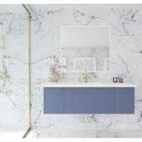 Vitri 54 - Nautical Blue Cabinet + Matte White VIVA Stone Solid Surface Countertop - 1