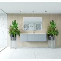 Vitri 60 - Single Sink Cabinet + Matte White VIVA Stone Solid Surface Center Sink Countertop - 1