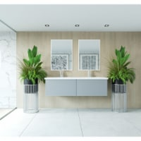 Vitri 60 - Double Sink Cabinet + Matte White VIVA Stone Solid Surface Double Sink Countertop - 1