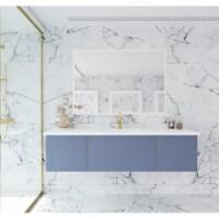 Vitri 66 - Nautical Blue Cabinet + Matte White VIVA Stone Solid Surface Countertop - 1