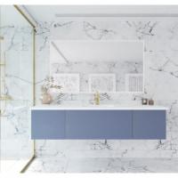 Vitri 72 - Single Sink Cabinet + Matte White VIVA Stone Solid Surface Center Sink Countertop