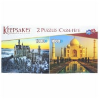 Set of 2 Keepsakes 1000 Piece Jigsaw Puzzles | Neuschwanstein Castle / Taj Mahal - 1 Each