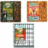 Home & Garden 2 Small Cakes &  Cage  Set / 3 Bird Flaming Hot Woodpecker 801*210*910 - 1