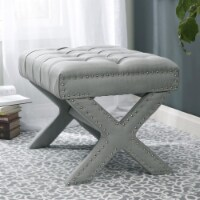 Posh Living Hazel Linen Button Tufted Silver Nailhead Trim X-Leg Ottoman - Light Grey