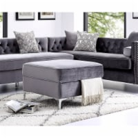 Posh Living Levi Velvet Modern Contemporary Square Storage Ottoman - Grey - 1