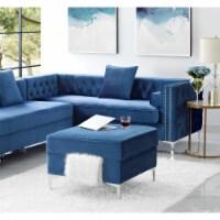 Levi Navy Blue Velvet Storage Ottoman - Chrome Legs - Square - Tufted in Blue - Posh Living - 1