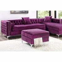 Posh Living Levi Velvet Modern Contemporary Square Storage Ottoman - Purple - 1