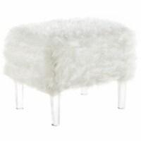 Posh Living Charlie Luxe Faux Fur Acrylic Leg Ottoman - White