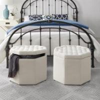 Posh Living Adrian Linen Upholstered Tufted Octagon Storage Ottoman - Cream White