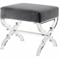 Posh Living Brayden Velvet Acrylic X-Leg Ottoman - Grey