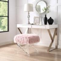 Posh Living Brayden Faux Fur Acrylic X-Leg Ottoman - Rose
