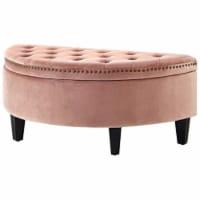 Nathan Blush Velvet Storage Ottoman - Half Moon - Upholstered in Pink - Posh Living - 1